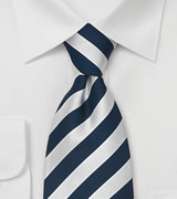 Striped Silk Ties Blue & Silver striped necktie