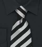 Striped Neckties Black and grey striped silk tie