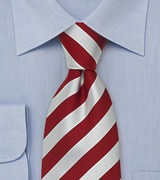 Red and white clip-on ties