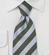 Silk Necktie in Light Blue and Army Green