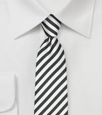 Dark Gray and White Skinny Tie