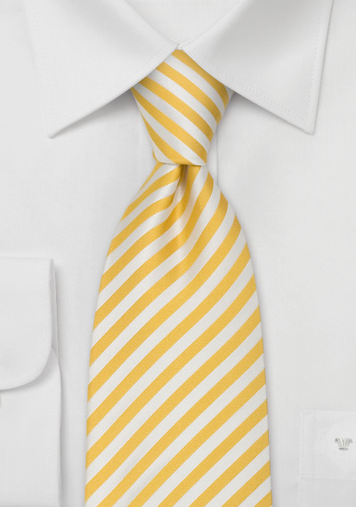 Extra Long Ties<br>Yellow & White Striped XL Tie