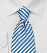 Extra Long Mens Ties Blue & White XL Necktie