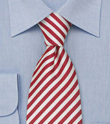 Red and White Extra Long Ties Candy Cane Striped Tie in XL