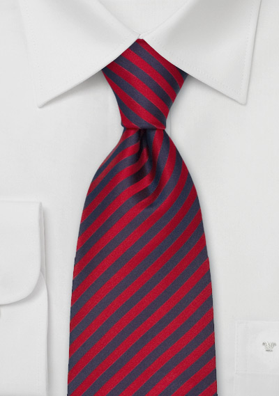Extra Long Ties<br>Red & Blue Striped Tie in XL
