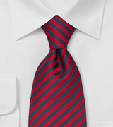 Extra Long Ties Red & Blue Striped Tie in XL