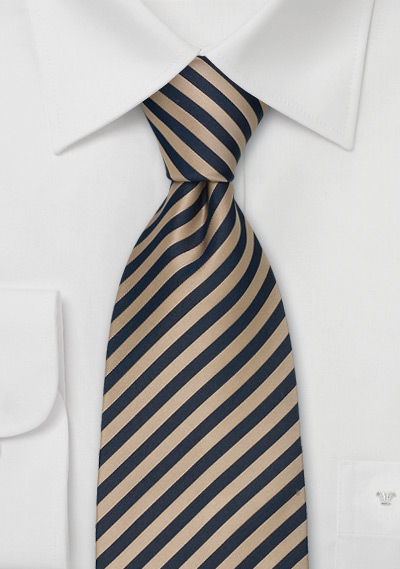 Striped Extra Long Ties<br>Brown & Blue Striped Tie in XL