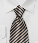 Striped Extra Long Ties Brown & Blue Striped Tie in XL