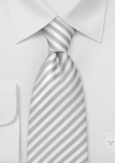 Formal Extra Long Neckties<br>White & Silver Striped XL Tie