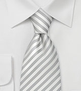 Formal Extra Long Neckties White & Silver Striped XL Tie