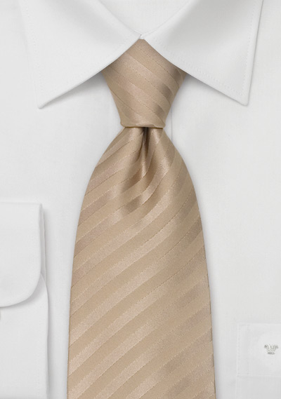 Solid Color Extra Long Ties<br>XL Mens Necktie in Tan-Brown
