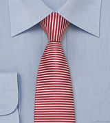 Red and White Stripe Skinny Tie
