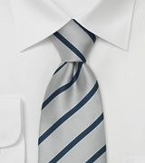 "Business Necktie ""Diplomacy"" - Silver & Navy"