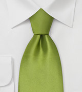 Sage green silk tie Solid color bright green necktie