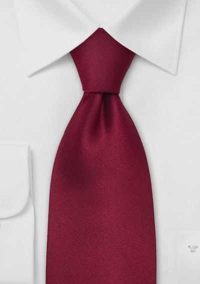 Extra Long Mens Tie in Dark Solid Red