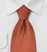 Dark Orange Silk Tie in XL