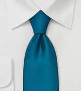 Solid Turquoise Blue Silk Tie in XL Length