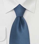 Solid Steel-Blue Tie in Extra Long