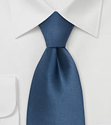 Solid Blue Ties Necktie in Steel-Blue