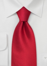 Extra Long Solid Color Red Tie  Handmade silk tie in solid bright red