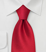 Solid Color Red Tie  Handmade silk tie in solid bright red