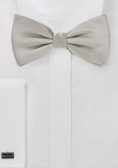 Satin Finish Silver Bow Tie