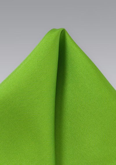 Bright Lime Green Silk Pocket Square