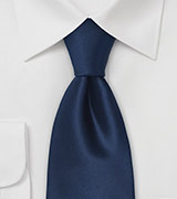Dark Navy Silk Tie in XL Length