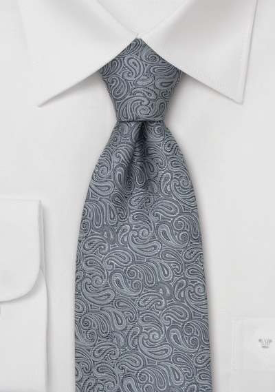 Silver & Gray Paisley Tie by Chevalier