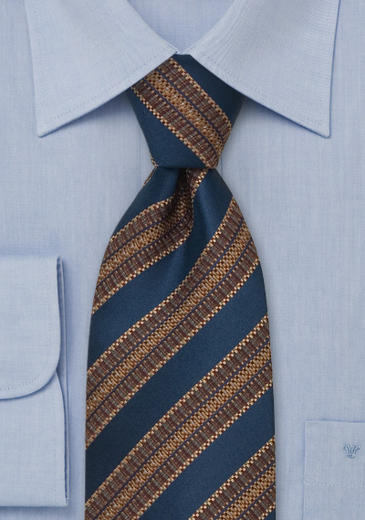Blue & Brown Striped Silk Tie