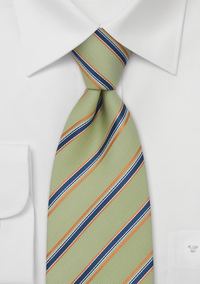 Chevalier Designer Ties<br>Lime Green & Orange Striped Tie