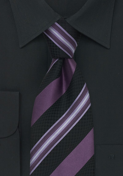 Striped Purple & Navy Silk Tie