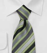 Gray and Green Striped Tie in XL