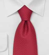 Modern Red Necktie Solid Red Tie With Fine Stripes