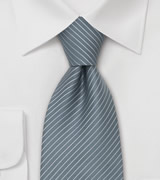 Gray Mens Ties Fine Striped Tie in a Slate Gray Color