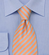Pink-Orange XL Length Tie with Blue Stripes