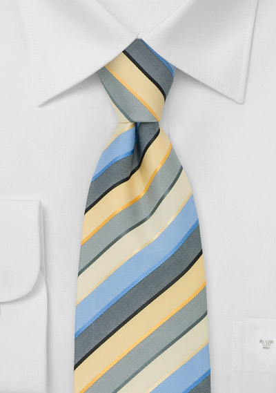 Striped Mens Ties<br>Blue, Yellow, and Gray Striped Tie