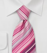 Hot Pink Striped Necktie in XL Length