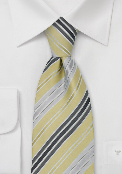 lime green and gray striped necktie
