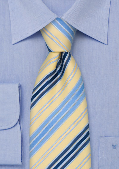 Striped Mens Ties<br>Navy, Light Blue, and Yellow Necktie