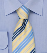 Striped Mens Ties Navy, Light Blue, and Yellow Necktie