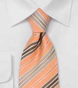 Coral and Brown Neck Tie