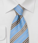 Blue and Brown Ties Striped Necktie in Blue and Brown