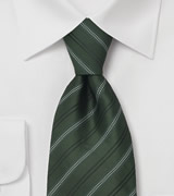 Green Neckties Striped Tie in British Racing Green Color