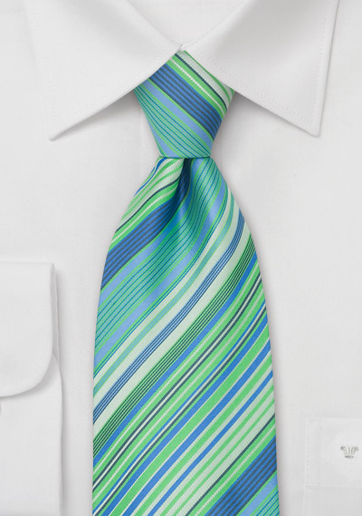 Turquoise-Blue Striped Tie in Extra Long