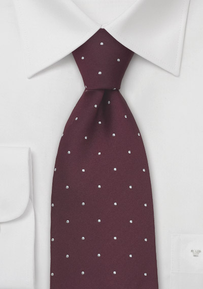 Burgundy and White Polka Dot Tie iin XL