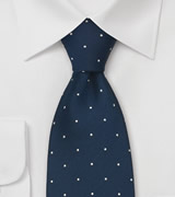Midnight Blue Polka Dot Tie by Chevalier