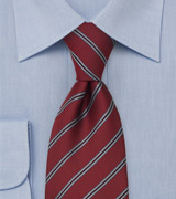 Burgundy Red Tie With Light Blue and Brown Stripes