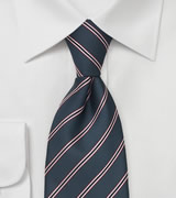 Taupe Gray Tie With Modern Pink Stripes