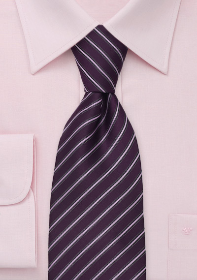 Modern Purple and Pink Striped Necktie